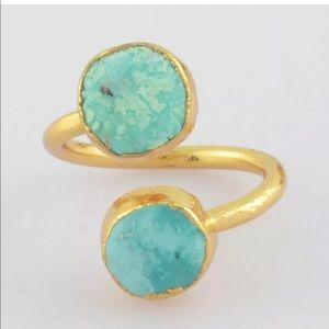 Jewelry - NWOT Adjustable Gold & Turquoise Double Ring Boho